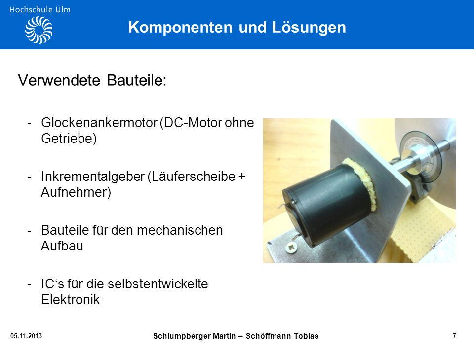 Komponenten und Lösungen Verwendete Bauteile: -Glockenankermotor (DC-Motor ohne Getriebe) -Inkrementalgeber (Läuferscheibe + Aufnehmer) -Bauteile für