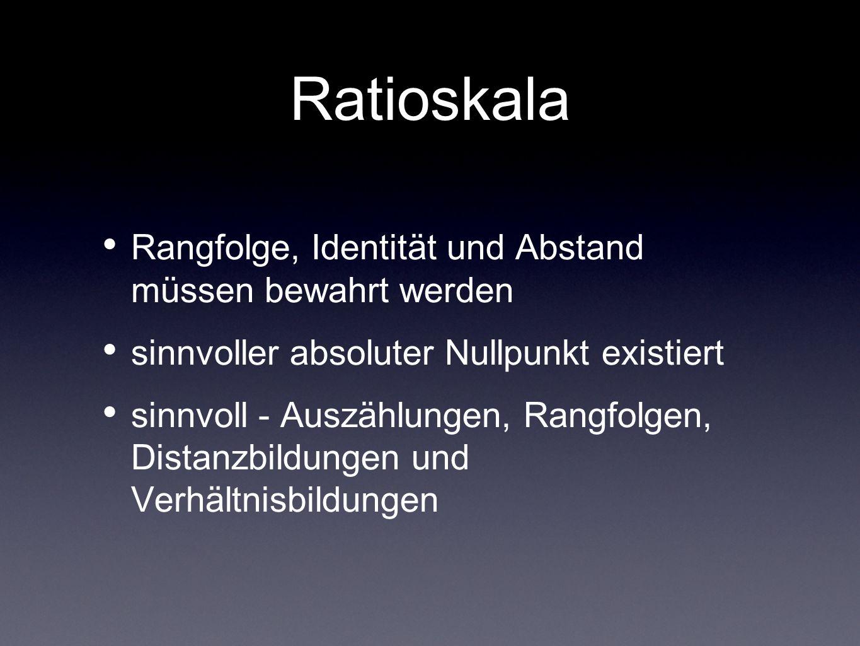 Ratioskala Rangfolge, Identität und Abstand müssen bewahrt werden sinnvoller absoluter Nullpunkt existiert sinnvoll - Auszählungen, Rangfolgen, Distan