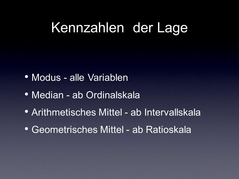 Kennzahlen der Lage Modus - alle Variablen Median - ab Ordinalskala Arithmetisches Mittel - ab Intervallskala Geometrisches Mittel - ab Ratioskala