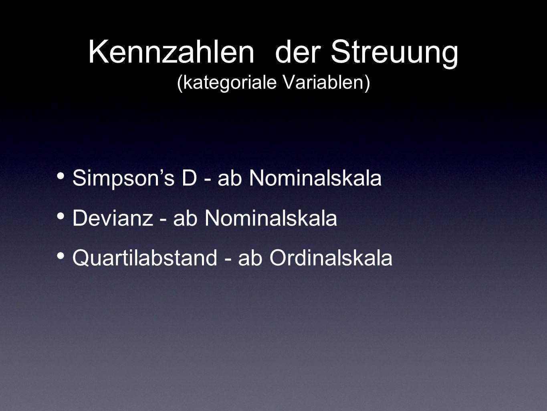 Kennzahlen der Streuung (kategoriale Variablen) Simpsons D - ab Nominalskala Devianz - ab Nominalskala Quartilabstand - ab Ordinalskala