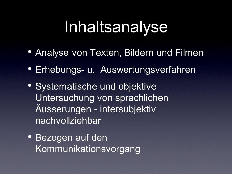 Inhaltsanalyse Analyse von Texten, Bildern und Filmen Erhebungs- u. Auswertungsverfahren Systematische und objektive Untersuchung von sprachlichen Äus