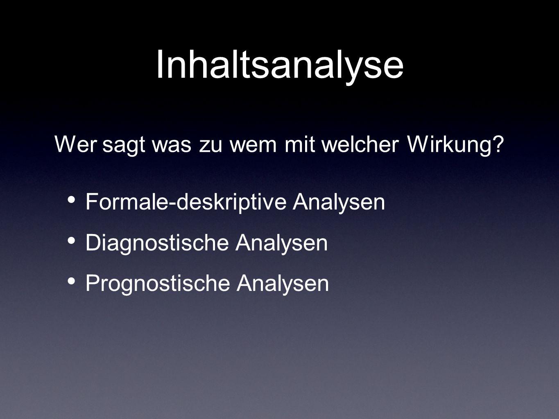Inhaltsanalyse Formale-deskriptive Analysen Diagnostische Analysen Prognostische Analysen Wer sagt was zu wem mit welcher Wirkung?