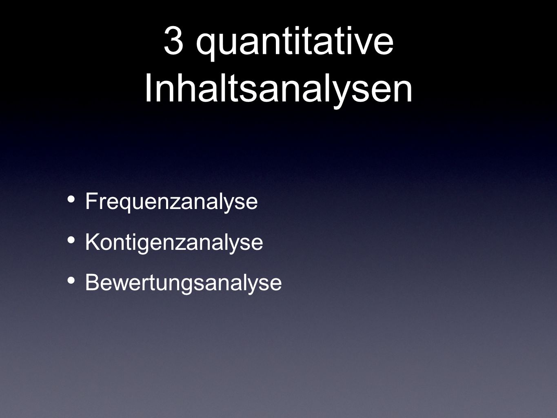 3 quantitative Inhaltsanalysen Frequenzanalyse Kontigenzanalyse Bewertungsanalyse