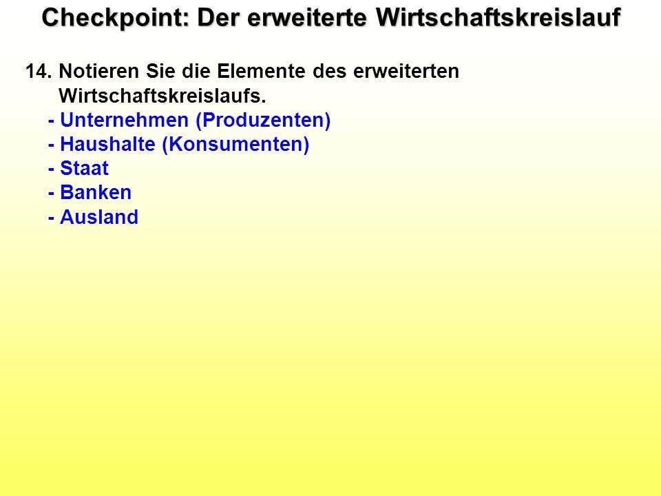 Checkpoint: Der erweiterte Wirtschaftskreislauf 14. Notieren Sie die Elemente des erweiterten Wirtschaftskreislaufs. - Unternehmen (Produzenten) - Hau