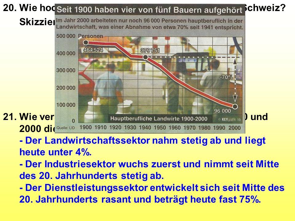 20. Wie hoch ist der Anteil der drei Sektoren in der Schweiz? Skizzieren Sie kurz. 21. Wie veränderten sich im Zeitraum zwischen 1850 und 2000 die dre