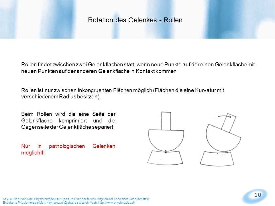 10 Rollen findet zwischen zwei Gelenkflächen statt, wenn neue Punkte auf der einen Gelenkfläche mit neuen Punkten auf der anderen Gelenkfläche in Kont