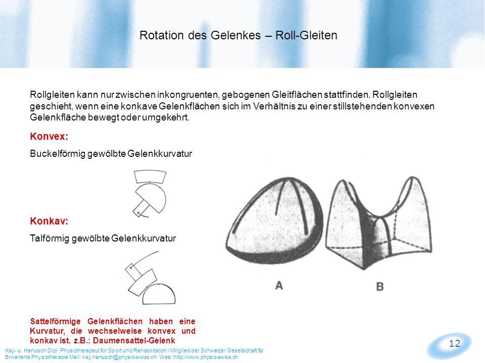 12 Rollgleiten kann nur zwischen inkongruenten, gebogenen Gleitflächen stattfinden. Rollgleiten geschieht, wenn eine konkave Gelenkflächen sich im Ver