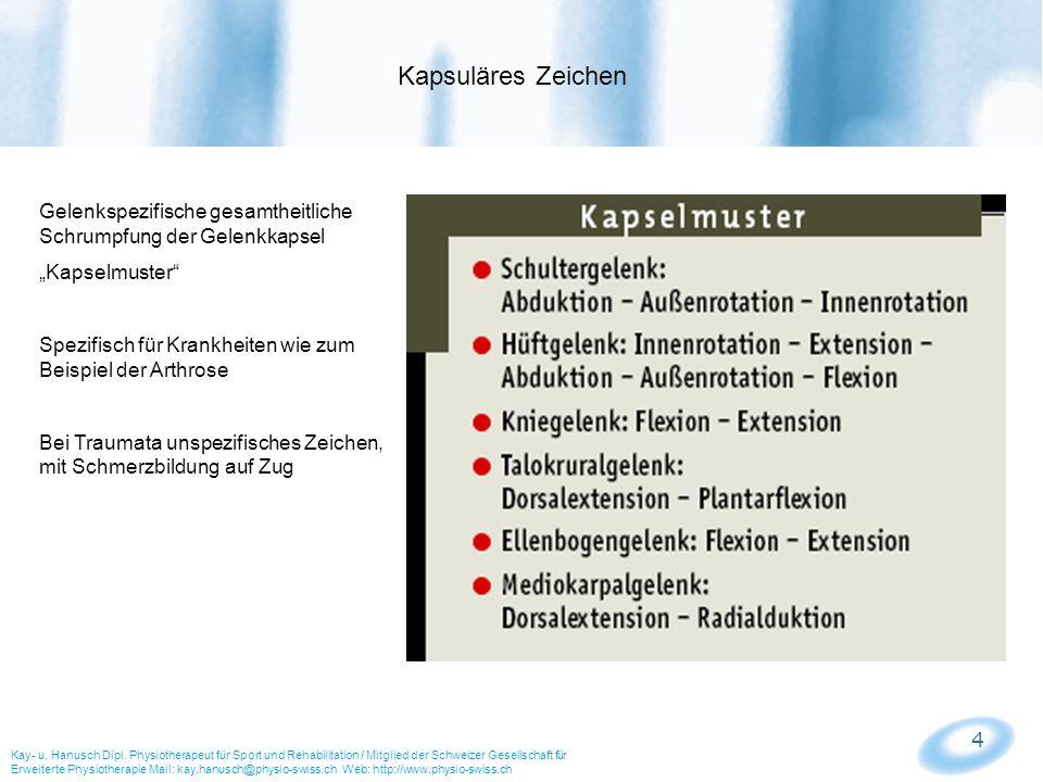 4 Kapsuläres Zeichen Kay- u. Hanusch Dipl. Physiotherapeut für Sport und Rehabilitation / Mitglied der Schweizer Gesellschaft für Erweiterte Physiothe
