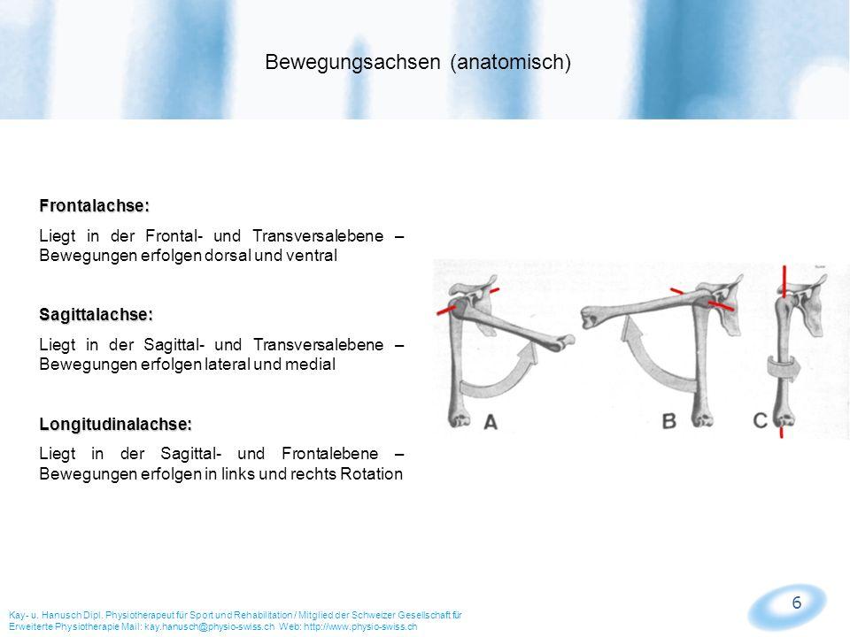 6 Frontalachse: Liegt in der Frontal- und Transversalebene – Bewegungen erfolgen dorsal und ventralSagittalachse: Liegt in der Sagittal- und Transvers