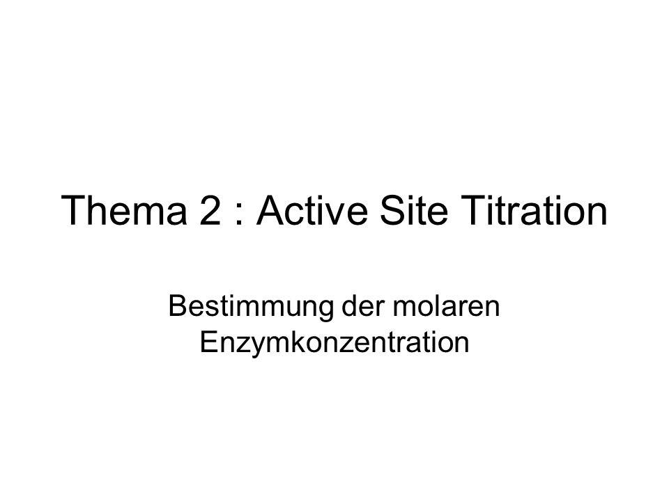 Thema 2 : Active Site Titration Bestimmung der molaren Enzymkonzentration