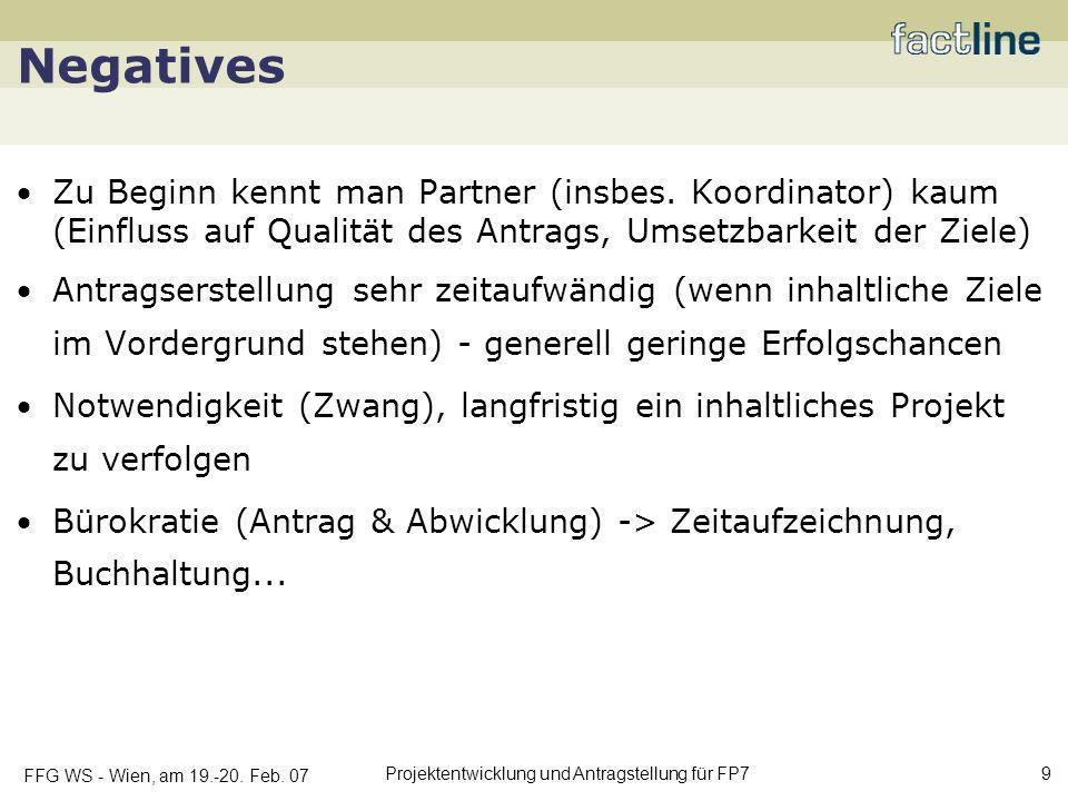FFG WS - Wien, am 19.-20. Feb. 07 Projektentwicklung und Antragstellung für FP7 9 Negatives Zu Beginn kennt man Partner (insbes. Koordinator) kaum (Ei