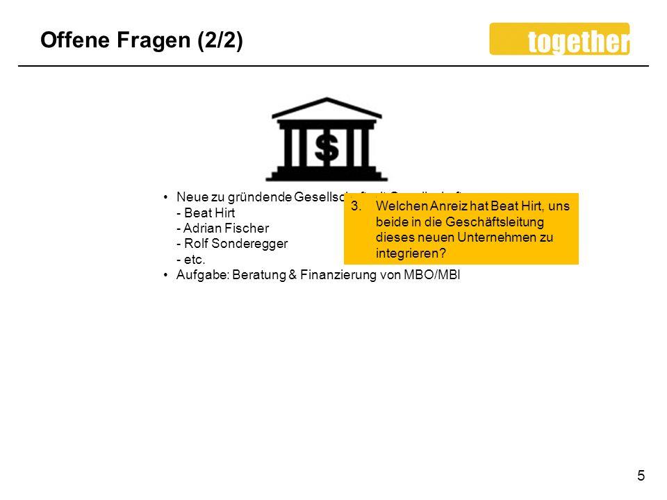 Offene Fragen (2/2) 5 Neue zu gründende Gesellschaft mit Gesellschaftern: - Beat Hirt - Adrian Fischer - Rolf Sonderegger - etc.