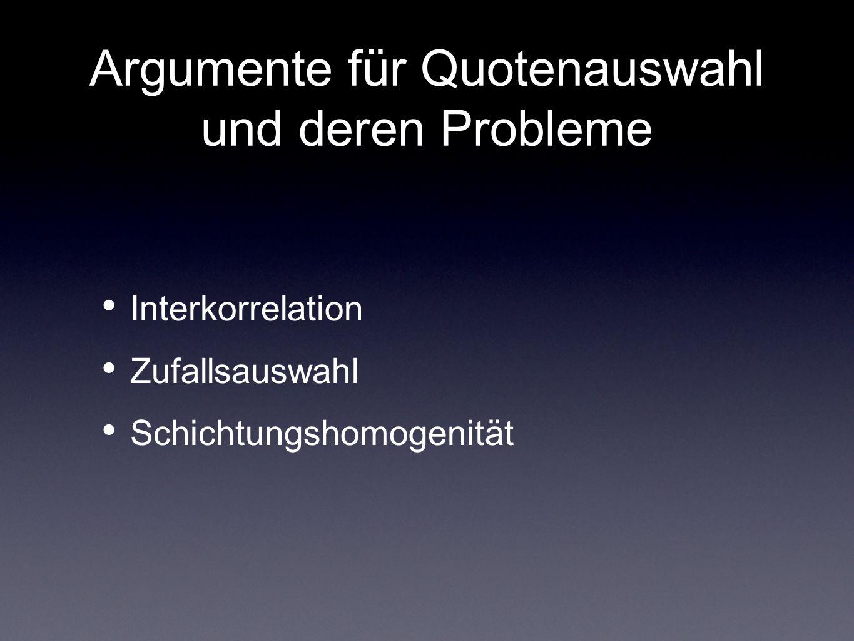 Argumente für Quotenauswahl und deren Probleme Interkorrelation Zufallsauswahl Schichtungshomogenität