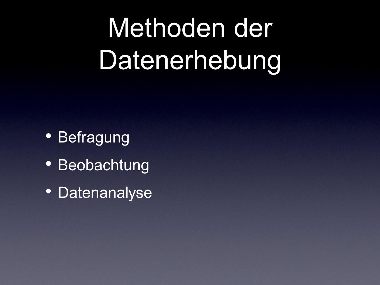 Methoden der Datenerhebung Befragung Beobachtung Datenanalyse
