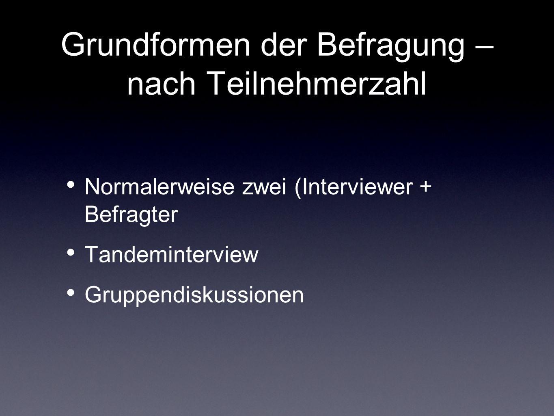 Grundformen der Befragung – nach Teilnehmerzahl Normalerweise zwei (Interviewer + Befragter Tandeminterview Gruppendiskussionen