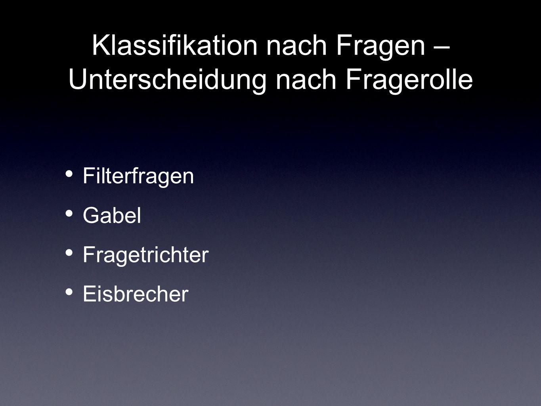 Klassifikation nach Fragen – Unterscheidung nach Fragerolle Filterfragen Gabel Fragetrichter Eisbrecher