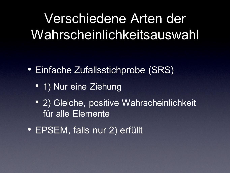 Verschiedene Arten der Wahrscheinlichkeitsauswahl Einfache Zufallsstichprobe (SRS) 1) Nur eine Ziehung 2) Gleiche, positive Wahrscheinlichkeit für all