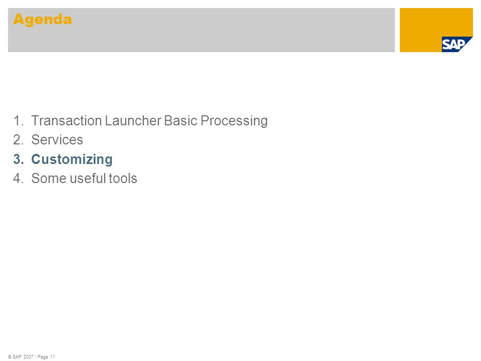 © SAP 2007 / Page 11 1.Transaction Launcher Basic Processing 2.Services 3.Customizing 4.Some useful tools Agenda