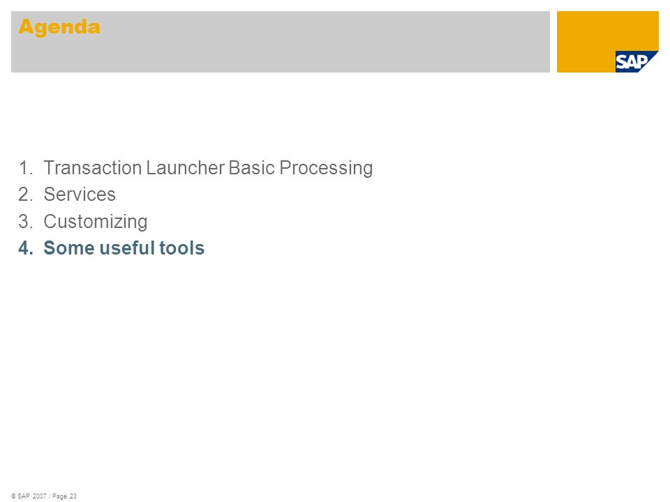 © SAP 2007 / Page 23 1.Transaction Launcher Basic Processing 2.Services 3.Customizing 4.Some useful tools Agenda