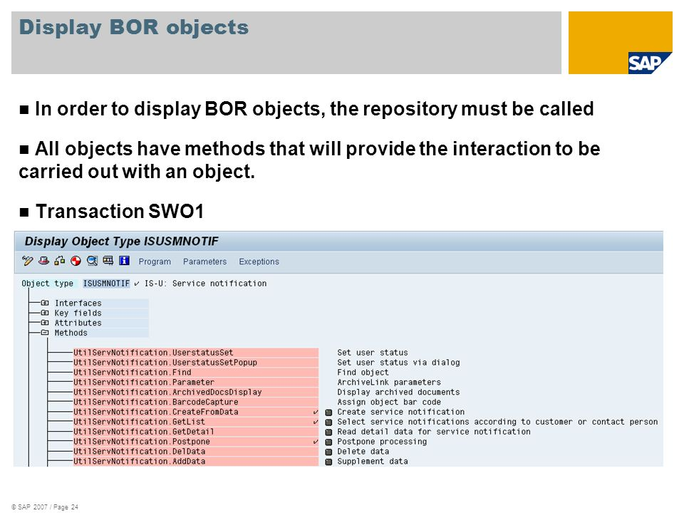 © SAP 2007 / Page 24 Display BOR objects In order to display BOR objects, the repository must be called All objects have methods that will provide the