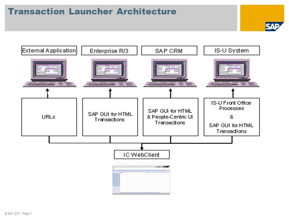 © SAP 2007 / Page 4 Transaction Launcher Architecture