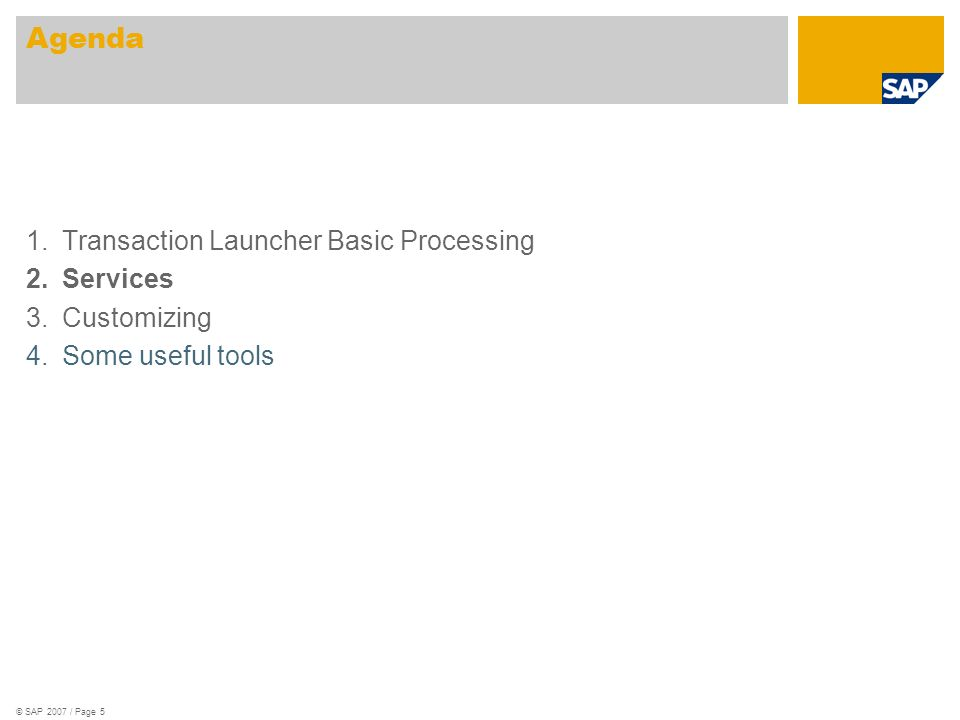© SAP 2007 / Page 5 1.Transaction Launcher Basic Processing 2.Services 3.Customizing 4.Some useful tools Agenda