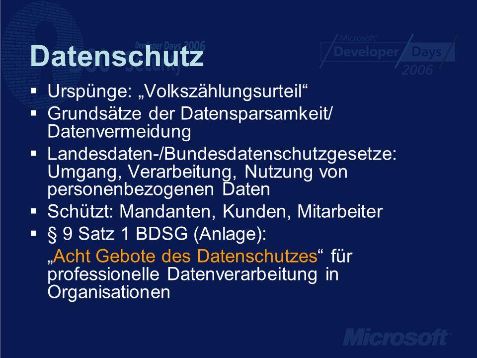 Datenschutz Wichtige Aspekte für IT-Security 1.Zutrittskontrolle – kein Zutritt von Unbefugten 2.