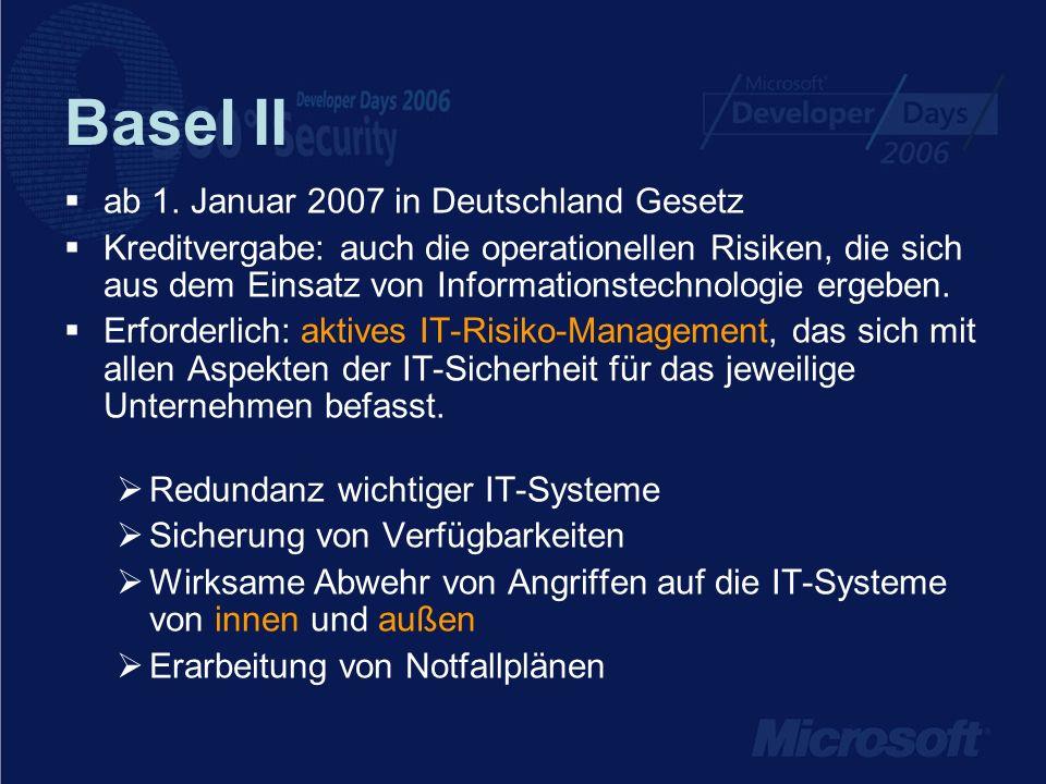 Basel II IT-Sicherheit ist somit sehr wichtiger Faktor bei der Kreditvergabe IT-Sicherheit kann somit die durch die Kreditaufnahme entstehenden Kosten senken
