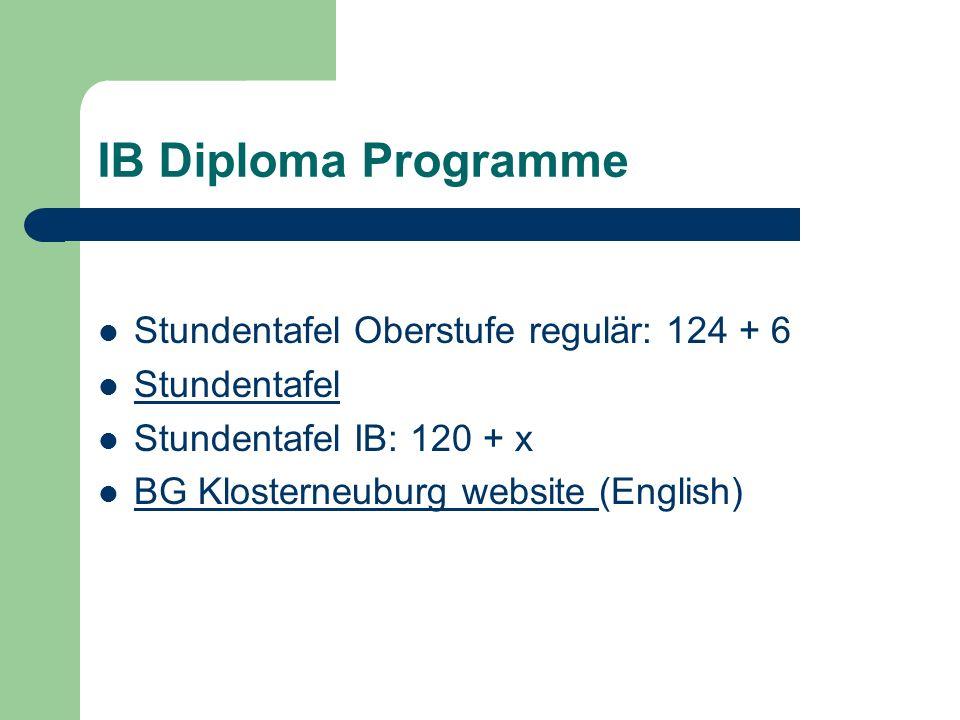 IB Diploma Programme Stundentafel Oberstufe regulär: 124 + 6 Stundentafel Stundentafel IB: 120 + x BG Klosterneuburg website (English) BG Klosterneuburg website