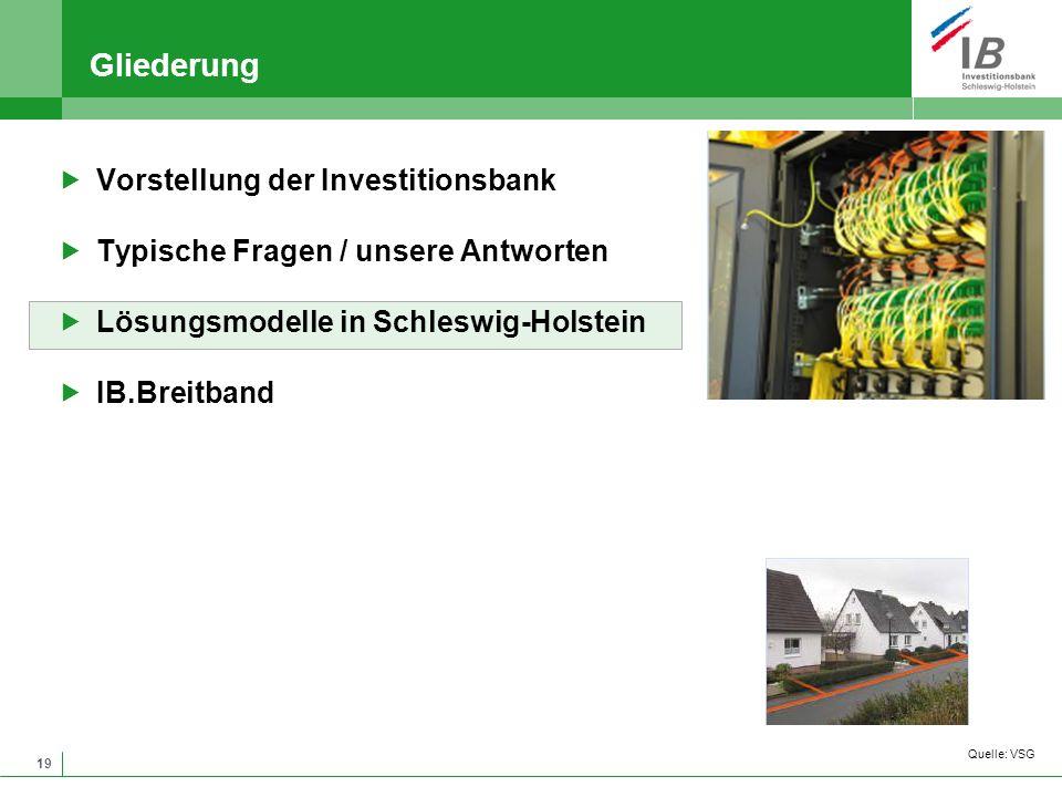 19 Gliederung Vorstellung der Investitionsbank Typische Fragen / unsere Antworten Lösungsmodelle in Schleswig-Holstein IB.Breitband Quelle: VSG