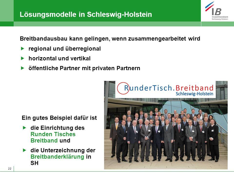 22 Lösungsmodelle in Schleswig-Holstein Breitbandausbau kann gelingen, wenn zusammengearbeitet wird regional und überregional horizontal und vertikal