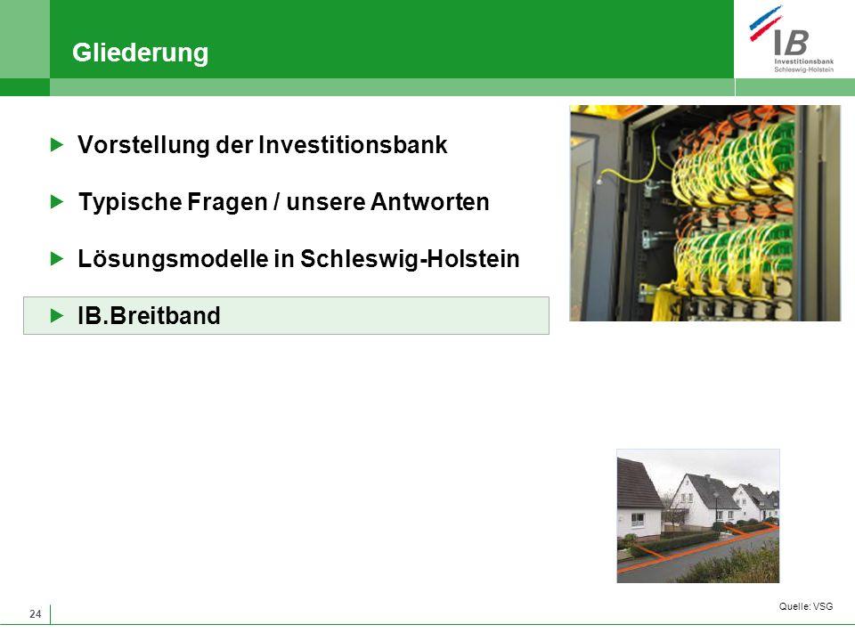 24 Gliederung Vorstellung der Investitionsbank Typische Fragen / unsere Antworten Lösungsmodelle in Schleswig-Holstein IB.Breitband Quelle: VSG