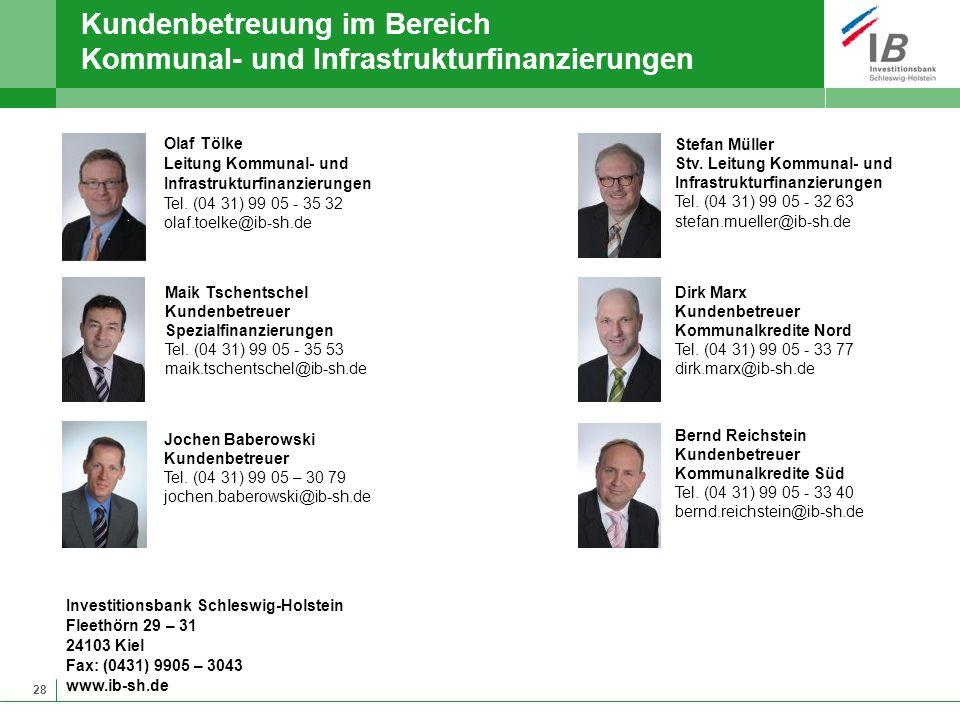 28 Kundenbetreuung im Bereich Kommunal- und Infrastrukturfinanzierungen Investitionsbank Schleswig-Holstein Fleethörn 29 – 31 24103 Kiel Fax: (0431) 9