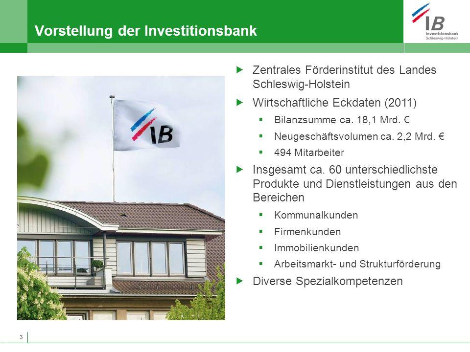 3 Vorstellung der Investitionsbank Zentrales Förderinstitut des Landes Schleswig-Holstein Wirtschaftliche Eckdaten (2011) Bilanzsumme ca. 18,1 Mrd. Ne