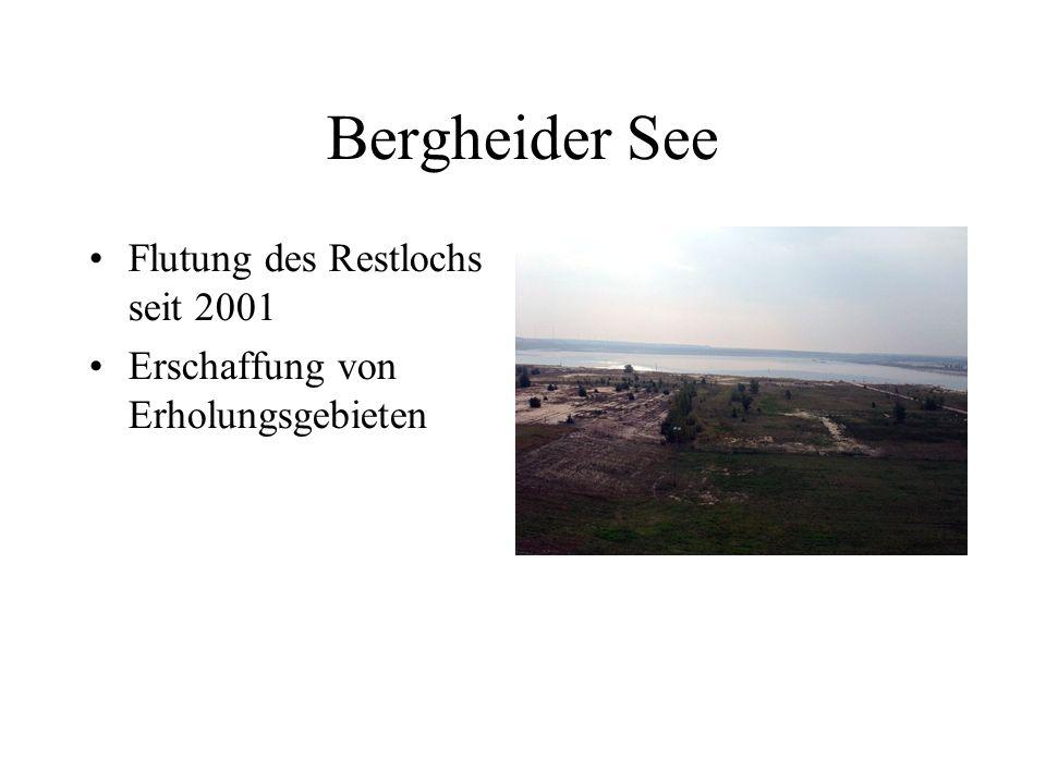 Bergheider See Flutung des Restlochs seit 2001 Erschaffung von Erholungsgebieten