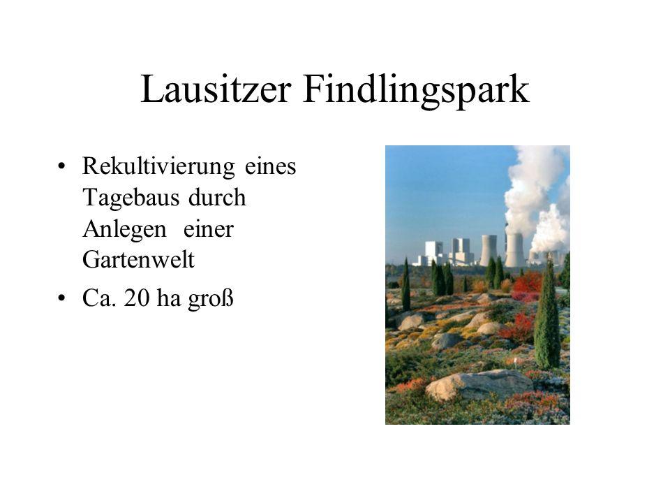 Lausitzer Findlingspark Rekultivierung eines Tagebaus durch Anlegen einer Gartenwelt Ca. 20 ha groß