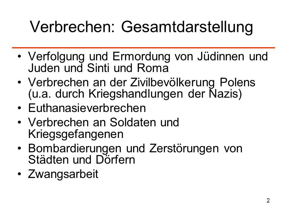 2 Verbrechen: Gesamtdarstellung Verfolgung und Ermordung von Jüdinnen und Juden und Sinti und Roma Verbrechen an der Zivilbevölkerung Polens (u.a. dur