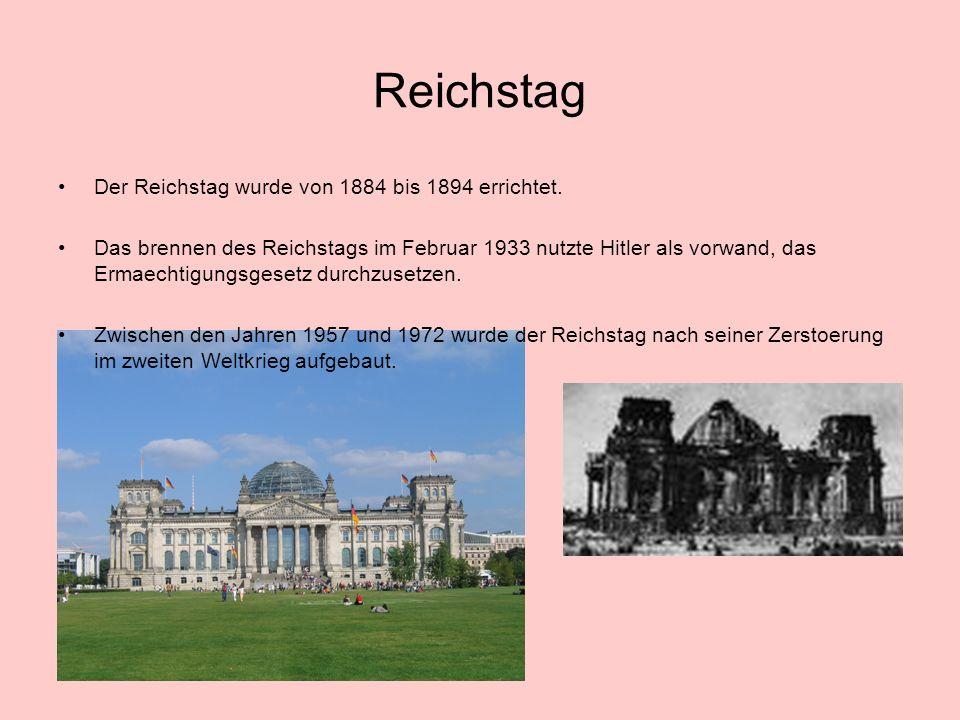 Reichstag Der Reichstag wurde von 1884 bis 1894 errichtet.