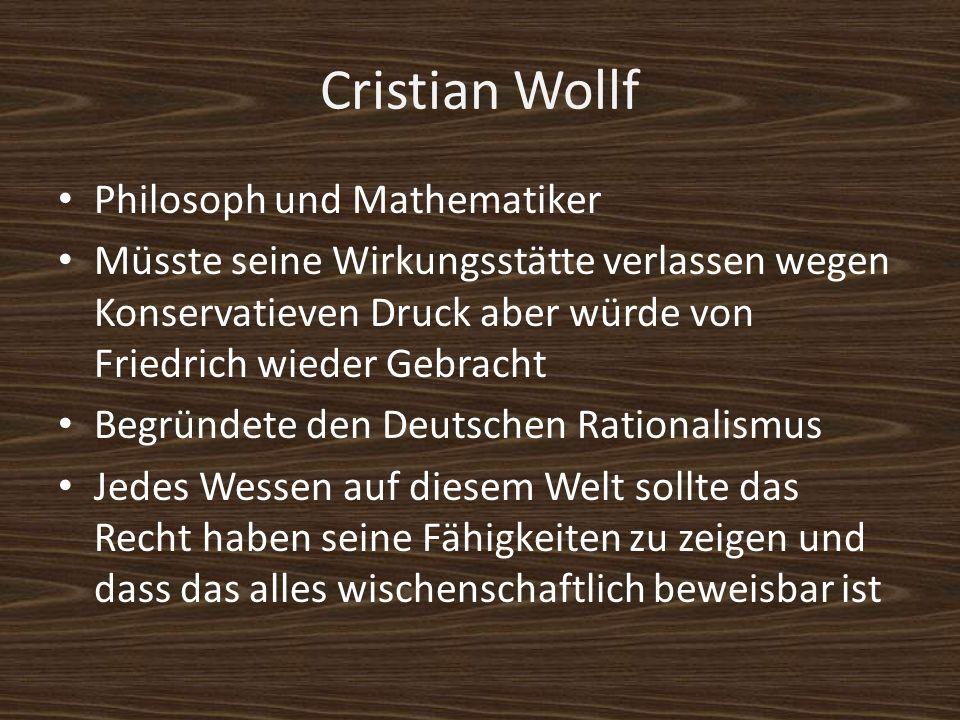 Friedrich der Große König von Preußen Förderte die Deutsche Aufklärung Sagte dass alle Religionen respektiert werden müssen Gewährte Freiheit zum lehren und publiziern Aufgeklärter Apsolitismus:Der Fürst ist der erste Diener des Staates