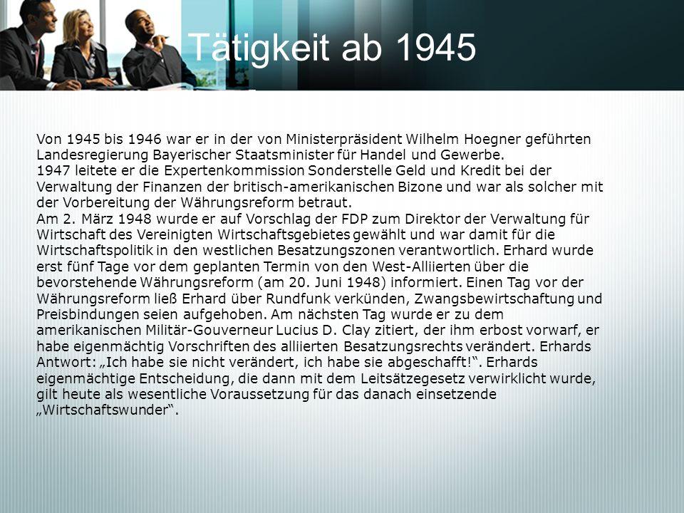 Tätigkeit ab 1945 Von 1945 bis 1946 war er in der von Ministerpräsident Wilhelm Hoegner geführten Landesregierung Bayerischer Staatsminister für Hande