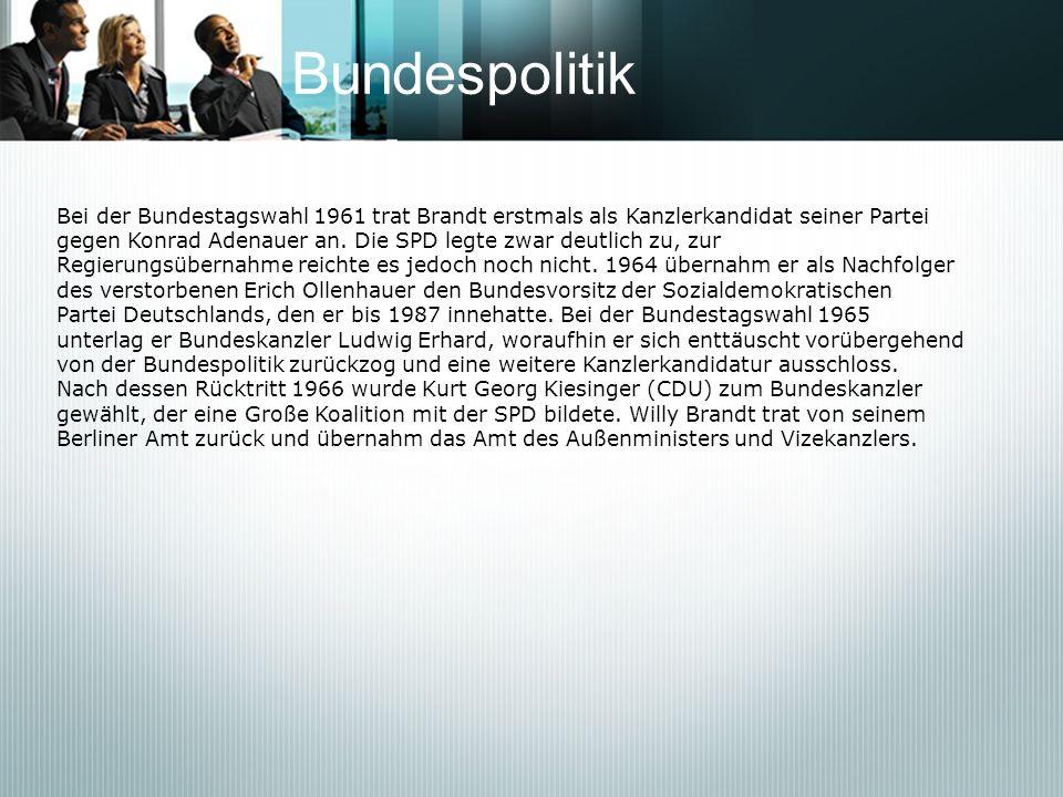 Bundespolitik Bei der Bundestagswahl 1961 trat Brandt erstmals als Kanzlerkandidat seiner Partei gegen Konrad Adenauer an. Die SPD legte zwar deutlich