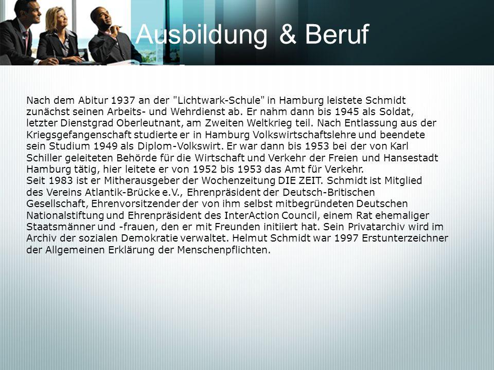 Familie Helmut Schmidt heiratete am 27.Juni 1942 Hannelore Glaser ( Loki ) (* 3.