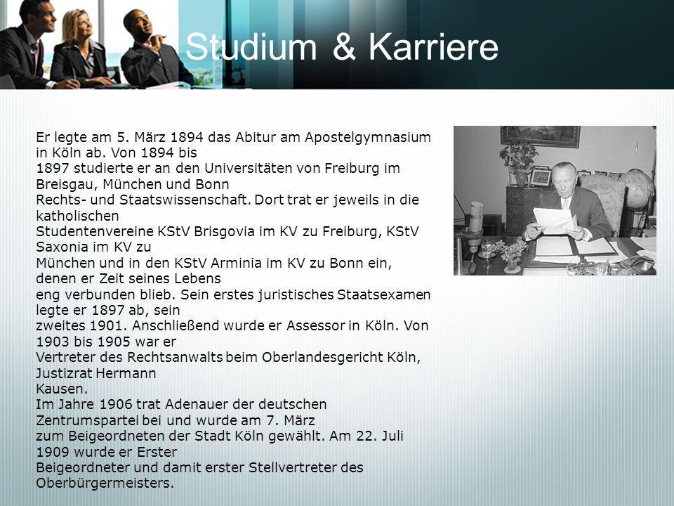 Studium & Karriere Er legte am 5. März 1894 das Abitur am Apostelgymnasium in Köln ab. Von 1894 bis 1897 studierte er an den Universitäten von Freibur