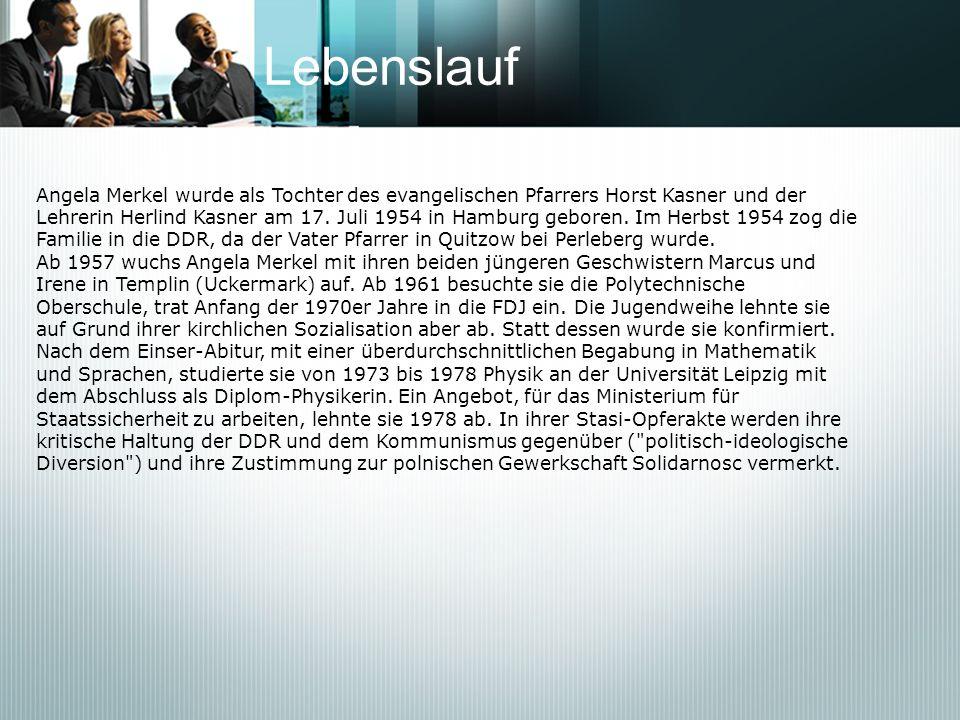 Politische Karriere Angela Merkel war in keiner der Oppositionsgruppen der ehemaligen DDR vor der Wende aktiv.