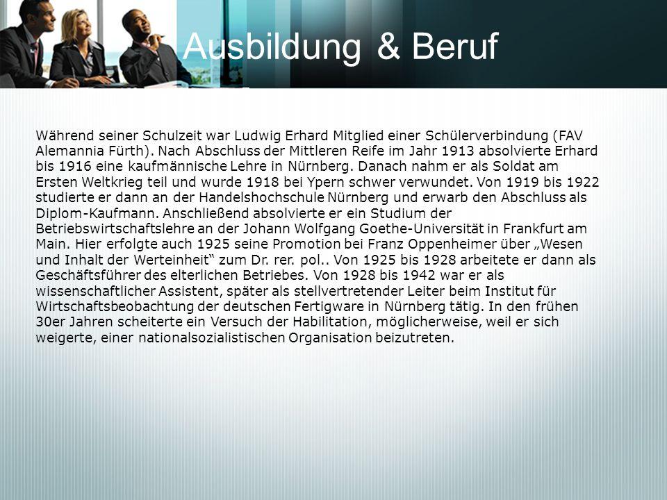 Ausbildung & Beruf Während seiner Schulzeit war Ludwig Erhard Mitglied einer Schülerverbindung (FAV Alemannia Fürth). Nach Abschluss der Mittleren Rei