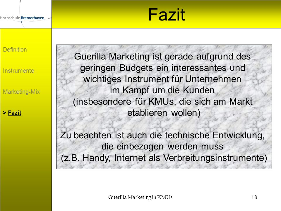 Guerilla Marketing in KMUs19 Film Großunternehmen