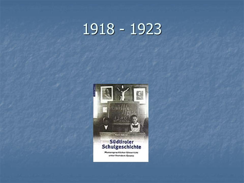 Italienisierung Italienisierung Majorisierung Majorisierung Katakombenschulen Katakombenschulen Option 1939 Option 1939 1946, 1948, 1972 1946, 1948, 1972 Autonomie Autonomie Deutsche Schule Deutsche Schule