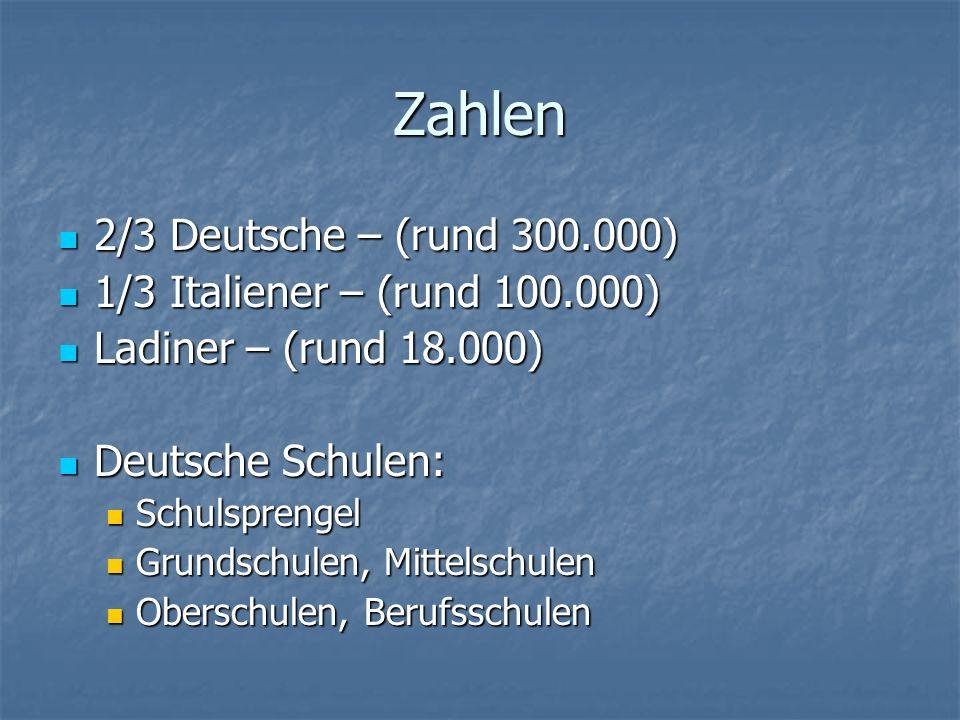 Zahlen 2/3 Deutsche – (rund 300.000) 2/3 Deutsche – (rund 300.000) 1/3 Italiener – (rund 100.000) 1/3 Italiener – (rund 100.000) Ladiner – (rund 18.00