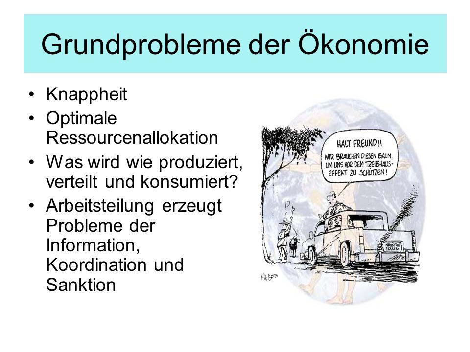 Grundprobleme der Ökonomie Knappheit Optimale Ressourcenallokation Was wird wie produziert, verteilt und konsumiert? Arbeitsteilung erzeugt Probleme d