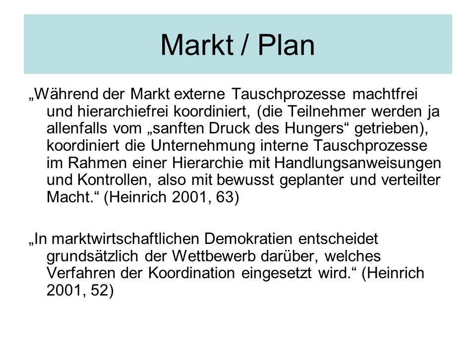 Markt / Plan Während der Markt externe Tauschprozesse machtfrei und hierarchiefrei koordiniert, (die Teilnehmer werden ja allenfalls vom sanften Druck